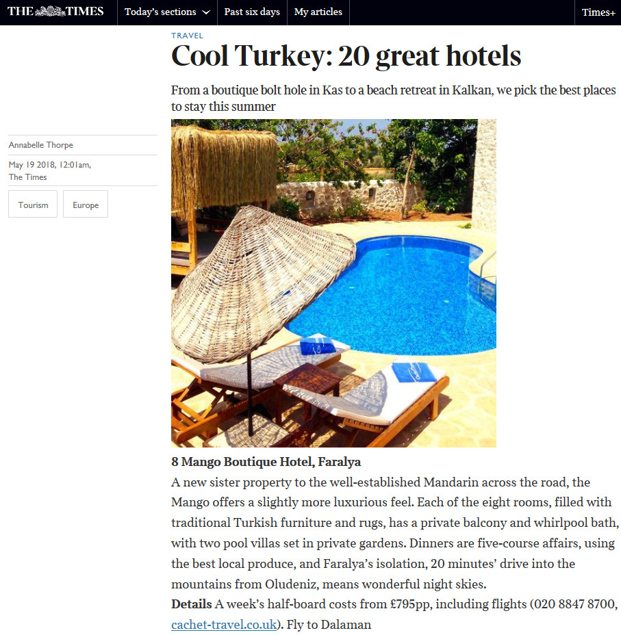 Mandarin & Mango Boutique Hotels - Press Coverage in the